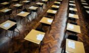 Standardized testing placed on rows of desks